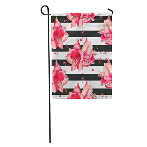 Semtomn Garden Flag Purple Stripe Watercolor Pattern Red Amaryllis Flowers Striped Black White Home Yard House Decor Barnner Outdoor Stand 12x18 Inches Flag