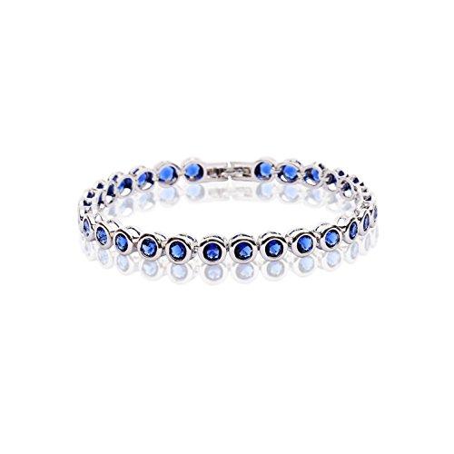 AMYJANE Sapphire Bracelet for Women - Sterling Silver Round Blue Swarovski Crystal CZ Cubic Zirconia Tennis Bracelet for Wedding Party Prom Girls Bridesmaids September Birthstone Birthday Gift Idea