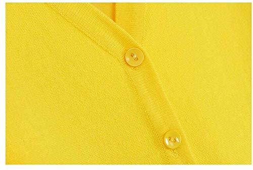 Maglia Tempo Forti Giacche Gelb Elegante Maniche Libero Bobo Breasted Lily Stlie V neck Taglie Primaverile Cappotto Outwear Base Unique Donna Fashion Giacca A Lunghe Fine Autunno Single CF7ctwc8q
