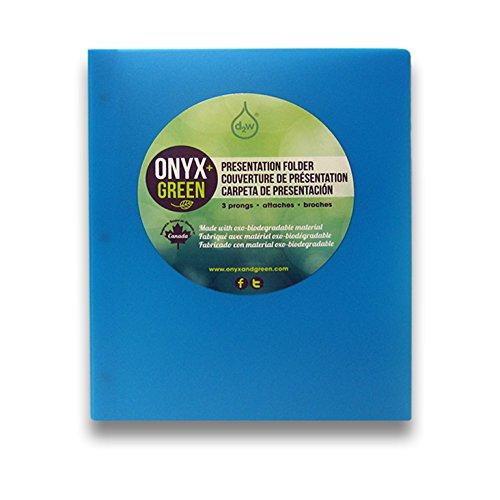 Onyx and Green Presentation Folder, 3 Prongs, Oxo-Biodegradable, Blue (6001BL)