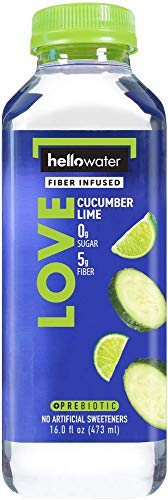 hellowater - Fiber Infused Water (Cucumber Lime (Love) - 16 Fl. oz. Bottles (Pack of 12)