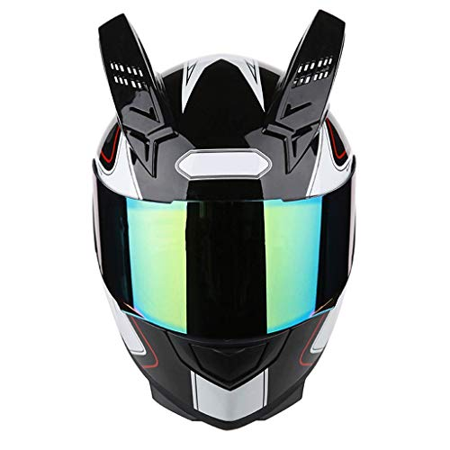 OUTO Casco Desmontable Motocicleta Montar al Aire Libre Espejo antivaho Colorido Casco de Cara Completa Negro Diablo Rojo...