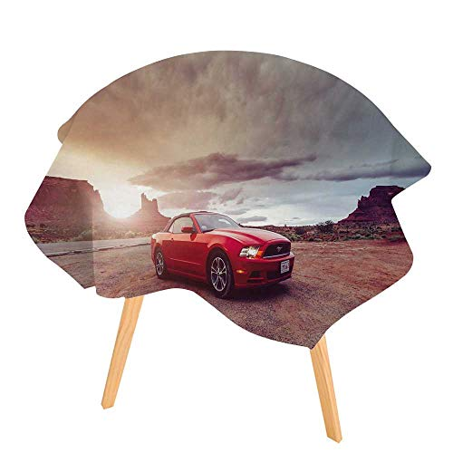 "PINAFORE Printed Pattern Washable Table Monument Valley Utah USA June Photo of a Ford Mustang Convertible Version at Dinner Kitchen Home Decor 71"" Round"