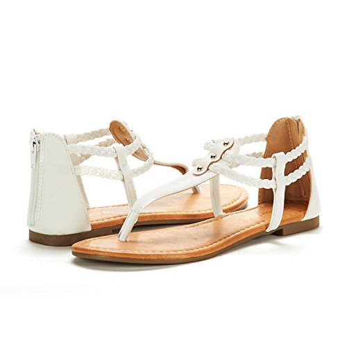 WHITE Women's Design Strap Sandals Maxi DREAM Fashion Flat Gladiator PAIRS Ankle 02 Awq5CaPx