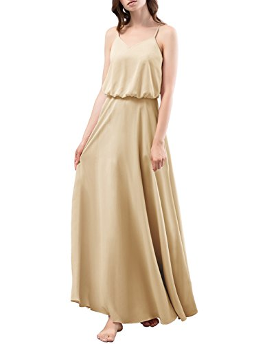 DRESSTELLS Long Bridesmaid Dress Spaghetti Straps V-Neck Chiffon A Line Prom Dresses Champagne Size 4
