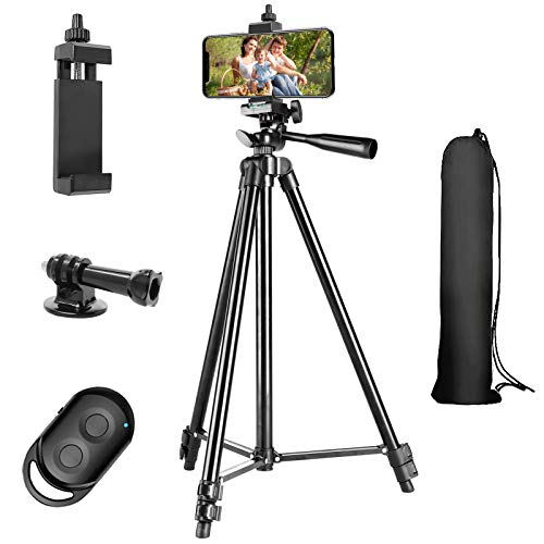 Phone Tripod, 51'' Extendable Lightweight Aluminum Phone Tripod Stand with Cell Phone Mount Holder & Bluetooth Remote, Tripod for iPhone/Android/Smartphone & Camera (Black)