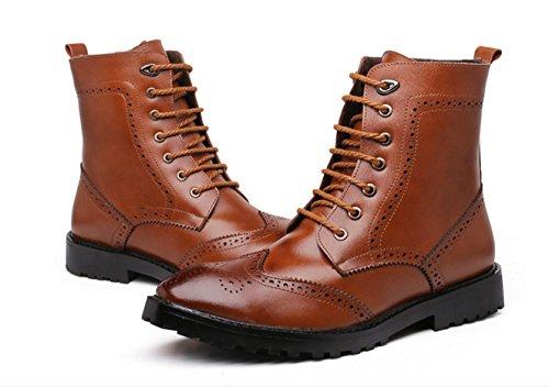 WZG Die neuen Martin Stiefel Bullock geschnitzt Leder High-Top Schuhe in Europa und Amerika-Gezeiten Stiefel zeigte Stiefel , brown , 38