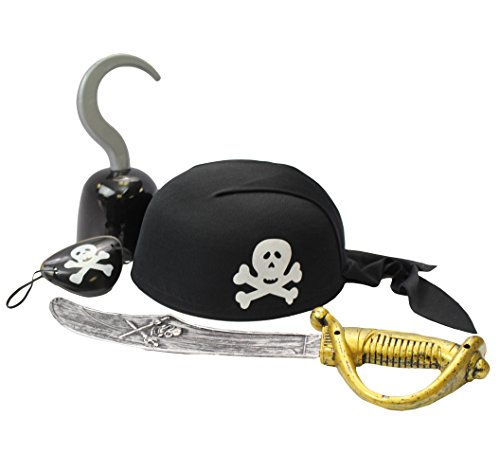Pirate Accessories - Costume Accessory Set by Funny Party Hats (4 Piece Pirate Dress Up Play Set W/ Hat Hook Sword and Patch) Captain Hook Accessory
