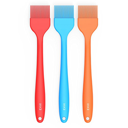 EXVI 10 inch Silicone Oil Brush Kitchen Pastry Baking Brush for Home Baking,Sauce Marinating,Cake Basting and Grilling BBQ Set of 3