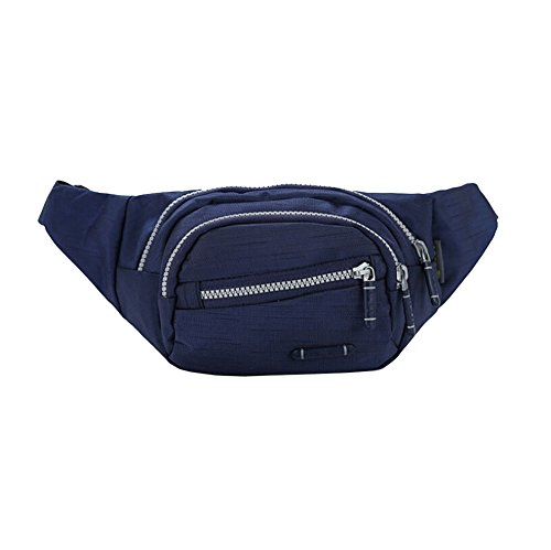 OrrinSports Sports Polyester Fanny Pack with 4 Zippers & Adjustable Waist Belt Deep Blue (Fanny Pack Alternative compare prices)