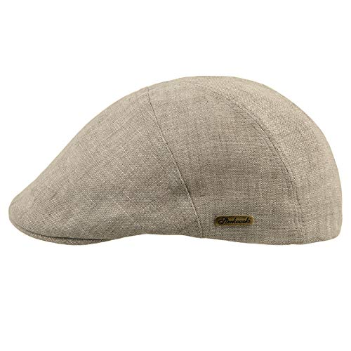Sterkowski Light Breathable Linen Summer Vintage Flat Cap US 7 1/8 Beige