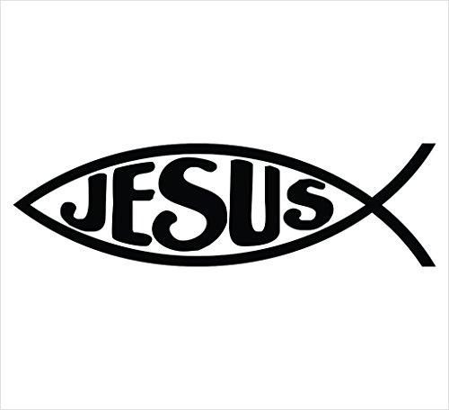 Jesus Fish (2 PACK) Religious Symbol Christian Vinyl Decal Sticker|BLACK|Cars Trucks SUV Laptop Wall Art|5.5