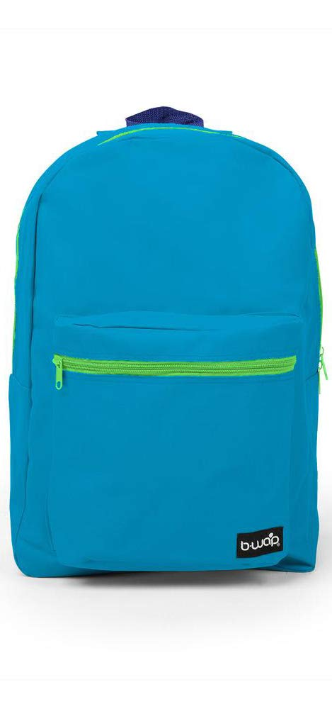 School Backpack - 18 Inch Backpack - 1 Large Compartment with 2 Way Zipper, 1 Front Zipper Pocket (Blue)