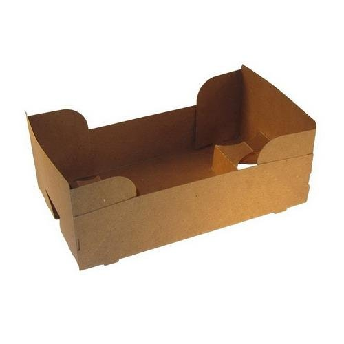 Paperboard 4 Corner Pop Up Food and Drink Stadium / Theater J-Type Tray by MT Products (25 Pieces)