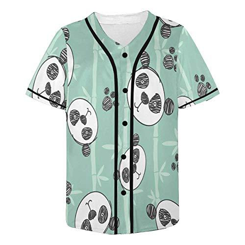 INTERESTPRINT Cartoon Panda Baseball Jersey Short Sleeve Print Tees for Men - Panda Baseball Jersey