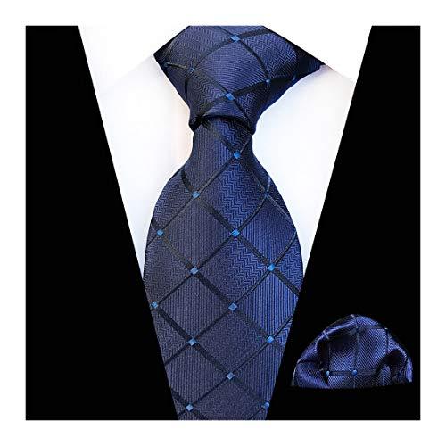 AVANTMEN Classic Plaid Striped Necktie for Men Tie Pocket Square Set + Gift Box (Plaid Tie + Pocket Square_Navy Blue)
