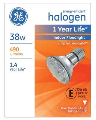 - G E Lighting 69163 Halogen Floodlight Bulb, Indoor, Par 20, 38-Watt - Quantity 6