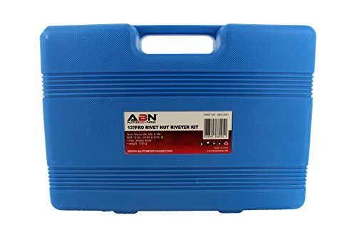 "ABN Nut & Thread Hand Riveter 17-Piece Tool Kit Set – 13"" Inch Rivet Setter Gun, Riveting Nuts, SAE & Metric Nose Sets by ABN (Image #4)"