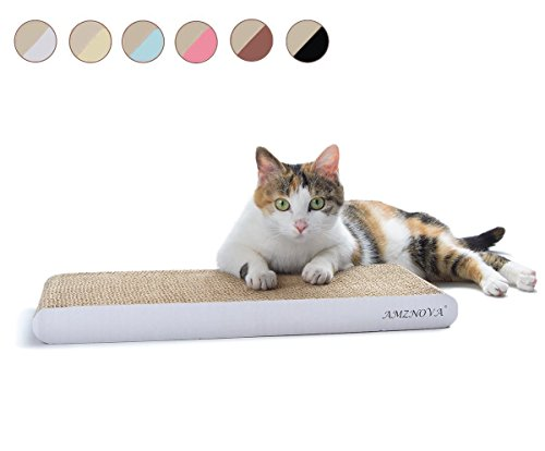 AMZNOVA Durable Cat Scratch Pad, Recyclable, Colors Series, Narrow, Ivory
