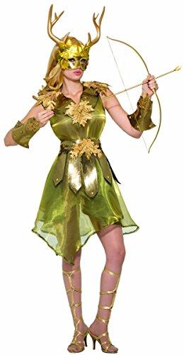 Forum Novelties Women's Mythical Huntress Costume Dress with Wristbands, Golden, ()