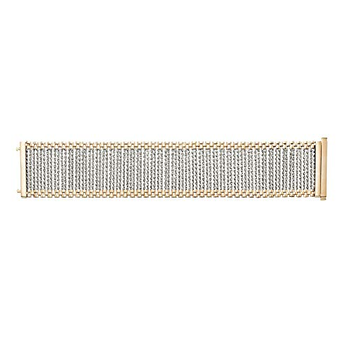 - 14K Yellow & White Gold 36mm Shiny Diamond Cut Bar Link Panther Bracelet 7.5