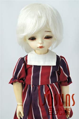 JD133 Short Cut Mohair BJD Doll Wigs Vinyl Doll Accessories (Ivory White, 6-7inch)]()