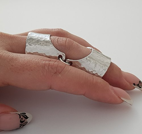 - Armor Knuckle Full Finger Double Ring Punk Rock Gothic Jewelry Cool