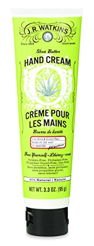 - J.R. Watkins Hand Cream with Shea and Cocoa Butters, Aloe & Green Tea, 3.3
