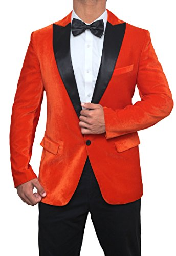 Decrum Taron Egerton Black Peak Lapel Kingsman Orange Mens Tuxedo Jacket,Orange - Tuxedo,Medium/40]()