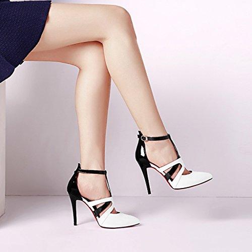 talons Rainbow Nouveau Blanc Baotou Sandales 2018 à hauts taille 36 Chaussures Couleur Stiletto Shoes Femmes Pointed 10cm Bandage Roman Rouge qCw4AW