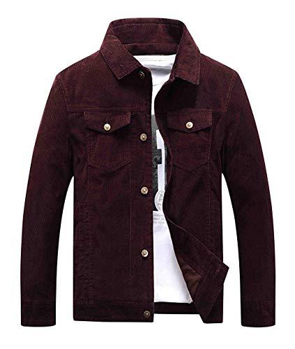 Chartou Men's Vintage Button-Front Slim Fit Corduroy Denim Jacket (Small, Wine)