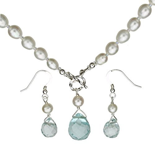 Joyful Creations Aqua Faceted Glass Briolette Freshwater Cultured Pearl Lariat Necklace Toggle Clasp, Earrings (Pearl Lariat Necklace Freshwater Cultured)