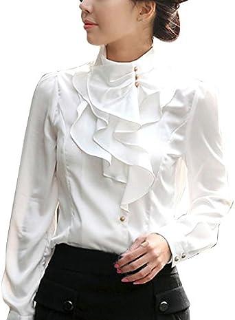 Vobaga Mujeres Moda Otoño Primavera de Camisa Color Solido Elegante de Ocasional de seda imitado Tops Con Cuello En Abotonado de Blusa de Manga Larga