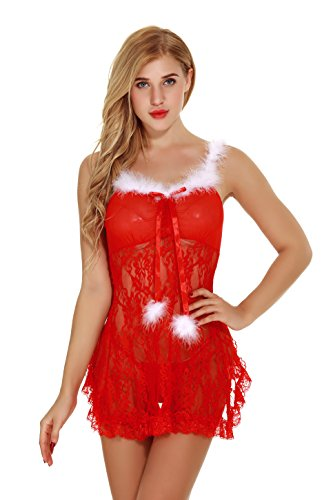 Itisovo Women Christmas Lingerie Red Santa Dress Costumes Bodysuit Lace Chemise Outfit Sleepwear (Medium)