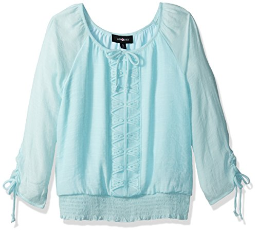 Smocked Waist Peasant Top (Amy Byer Big Girls' 3/4 Tie Sleeve Peasant Blouse With Smocked Waist, Aqua, S)