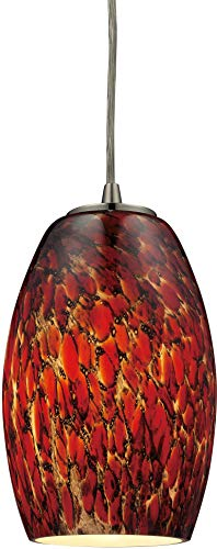 Elk 10220/1EMB Maui 1-Light Pendant with Ember Glass Shade, 5 by 8-Inch, Satin Nickel Finish