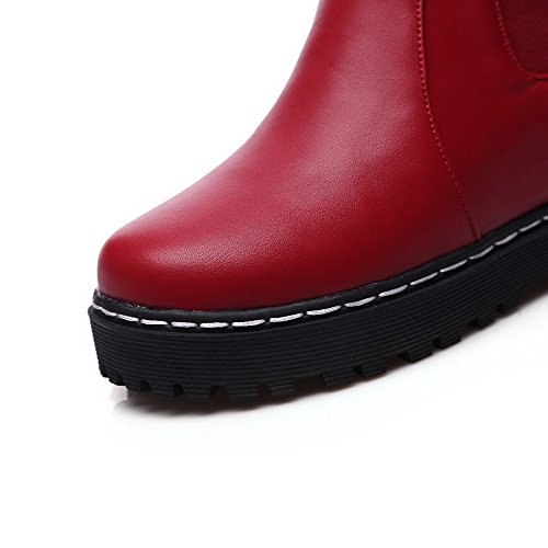 Allhqfashion Women's Solid Low-Heels Pull-on Round Closed Toe Boots Red GuiF82b