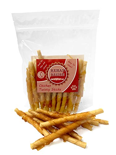 Rena's Recipe Chicken Twisty Sticks (8 oz) - Rawhide-Free Chews Made from Tapioca! Glucosamine Added for Joint Support!