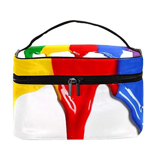 Bolsa de maquillaje cuadrada portatil para mujer, bolsa de almacenamiento, pintura al oleo, 22,5 x 15 x 13,8 cm