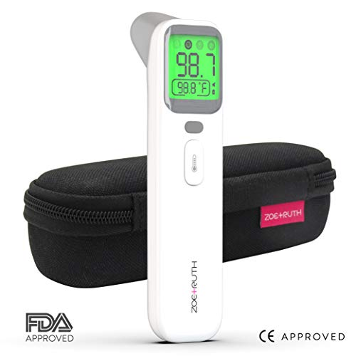 Baby Thermometer for Fast Forehead & Ear Temperature measurement by Zoe+Ruth. NEW 2019 Professional Medical Infrared Digital accurate Fever alert system, Smart 5 in 1 modes + Storage Case FDA approved