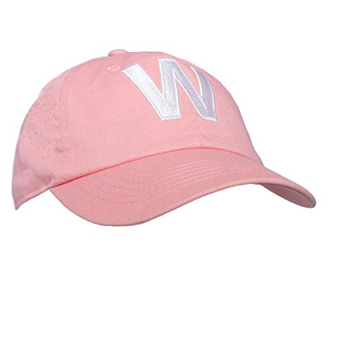 Tiny Expressions Toddler Girls' Pink Embroidered Initial Baseball Hat Monogrammed Cap (W, 2-6yrs)