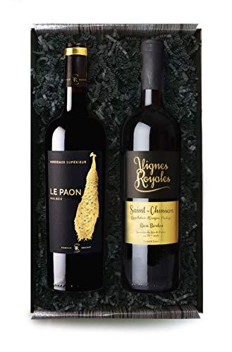 """Wein-Geschenkbox """"Gold-Duo mit französischen Weinen, 2 x 0,75 l Rotwein"""