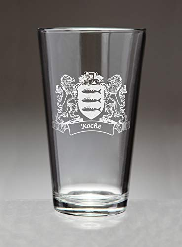 Roche Irish Coat of Arms Pint Glasses (Sand Etched)