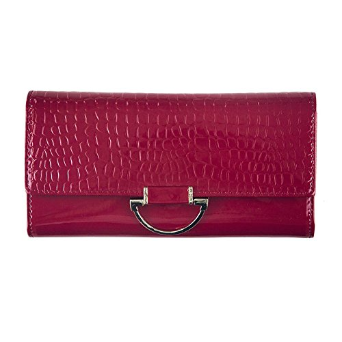 YEX Women Envelope Evening Patent Croc Skin Embossed Party Flap Clutch Red