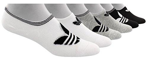 adidas Women's Originals Trefoil Super No Show Socks (6-Pack), white/light heather grey/black, 5-10 (Adidas No Show Socks Women)