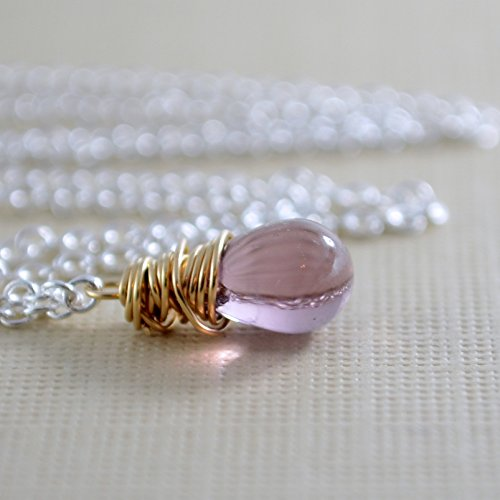 (Purple Glass Pendant Necklace in Gold or Silver)