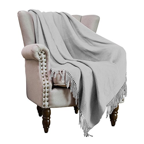 HollyHOME Throw Blanket Light Grey 50x60 Luxury Soft Microfiber All Season Blanket with Tassels, ideal for Bed or (Big Stick Super Plush Throw)