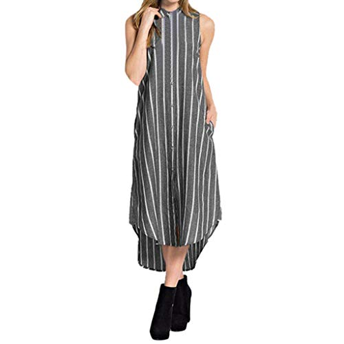 (Summer Striped Dresses,Londony Women's Dresses-Summer Floral Bohemian Spaghetti Strap Button Down Swing Midi Dress Black)
