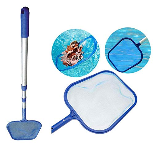 Professional Swimming Pool Leaf Skimmer Net with Aluminum Pole - Deep Ultra Fine Mesh Netting Bag Basket for Fast Cleaning of the Finest Debris - Clean Spas & Ponds - Cleaner Swimming Pool Tool (B)