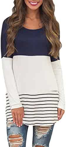 Chvity Women's Back Lace Color Block Tops Long Sleeve T-shirts Blouses